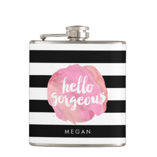 Hello Gorgeous Black Stripe & Pink Watercolor Flask
