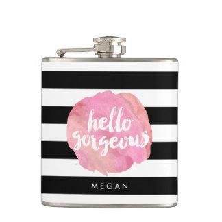 Hello Gorgeous Black Stripe & Pink Watercolor Hip Flask