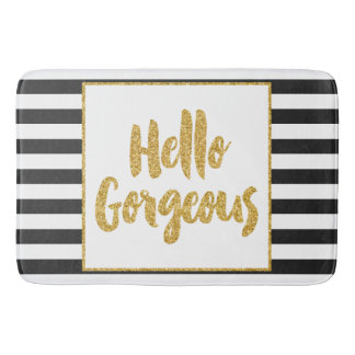 Hello Gorgeous Black & White Gold Glitter Stripes Bath Mat