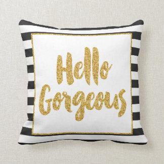 Hello Gorgeous Black & White Gold Glitter Stripes Throw Cushions