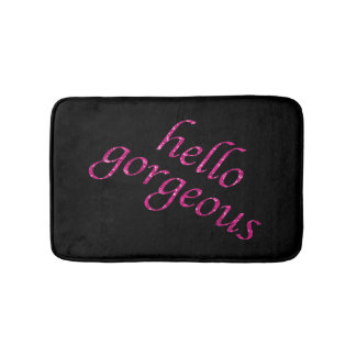 Hello Gorgeous | Chic Pink Black Girly Quotes Bath Mat