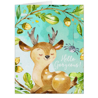 Hello Gorgeous | Funny Wildlife Lovers Watercolor Card