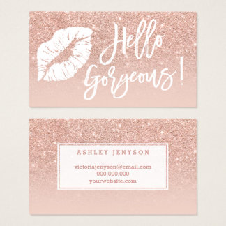 Hello gorgeous lips typography blush rose gold business card