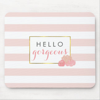 Hello Gorgeous Mousepad Pink Stripe & Blush Peony