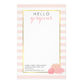 Hello Gorgeous Pink Stripe and Blush Peony 14 Cm X 21.5 Cm Flyer