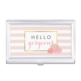 Hello Gorgeous | Pink Stripe & Blush Peony Case For Business Cards