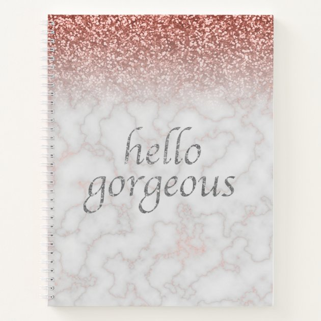 Hello Gorgeous Rose Gold Marble Ombre Glitter Glam Notebook Zazzle Com Au