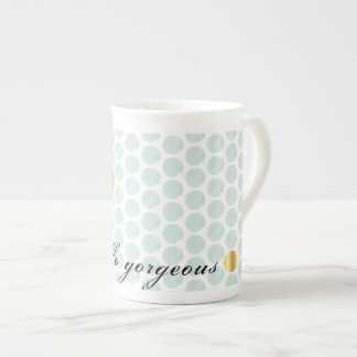 Hello Gorgeous Teal Watercolor Mug