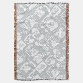 Hello Gray White Vintage Telephone Pattern
