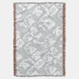Hello Gray White Vintage Telephone Pattern Throw Blanket