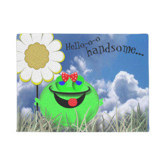 Hello handsome frog with Daisy Doormat