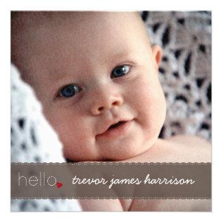 Hello Heart Baby Birth Announcement