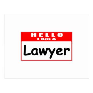 Hello, I Am A Lawyer ... Nametag Postcard