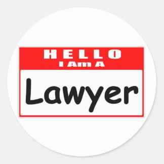 Hello, I Am A Lawyer ... Nametag Round Sticker