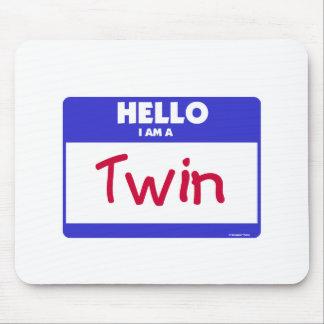 Hello I am a Twin- Blue Mouse Pads
