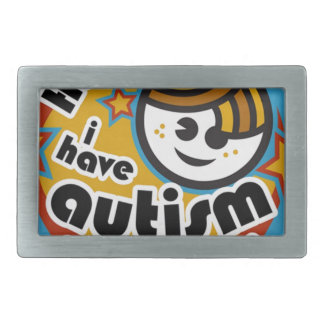 HELLO I HAVE AUTISM - AWARENESS RECTANGULAR BELT BUCKLE