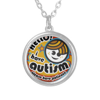 HELLO I HAVE AUTISM - AWARENESS SILVER PLATED NECKLACE