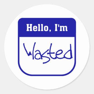 Hello, I'm wasted sticker