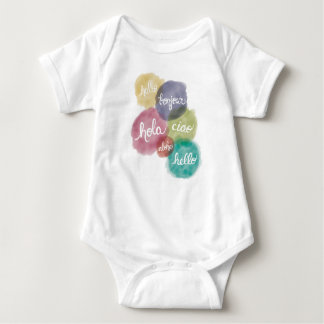 Hello in 6 Languages Baby Body Suit Baby Bodysuit