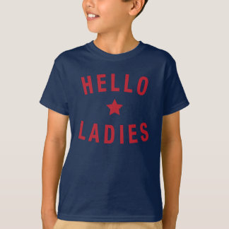 Hello Ladies, Youth Design in Red T-Shirt