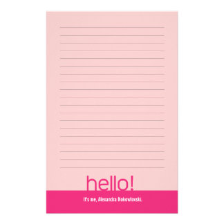 Hello! Lined Personalized Stationery
