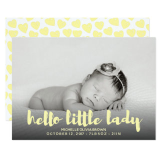 Hello little baby yellow  Photo Birth Announcement