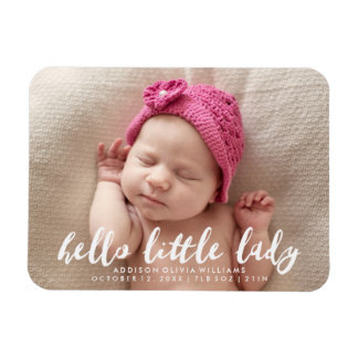 Hello Little Lady | Photo Birth Announcement Rectangular Photo Magnet