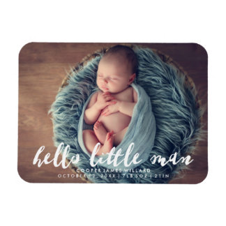 Hello Little Man | Photo Birth Announcement Magnet