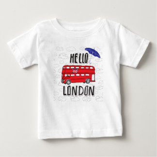 Hello London | Hand Lettered Sign With Umbrella Baby T-Shirt