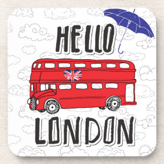 Hello London | Hand Lettered Sign With Umbrella Coaster