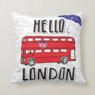 Hello London | Hand Lettered Sign With Umbrella Cushion