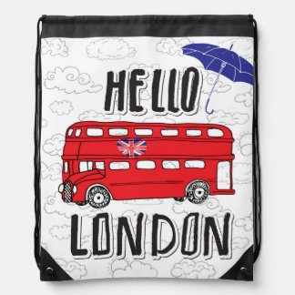Hello London | Hand Lettered Sign With Umbrella Drawstring Bag