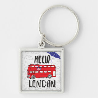 Hello London | Hand Lettered Sign With Umbrella Key Ring