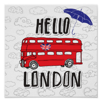 Hello London | Hand Lettered Sign With Umbrella Poster