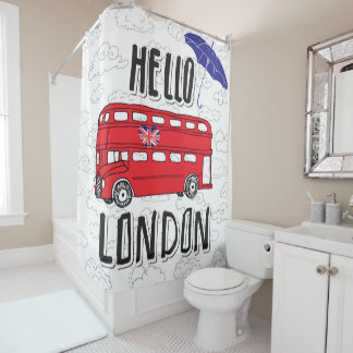 Hello London | Hand Lettered Sign With Umbrella Shower Curtain
