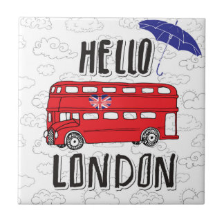 Hello London | Hand Lettered Sign With Umbrella Tile
