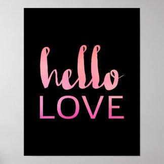Hello Love - Pink Typography - Black Poster