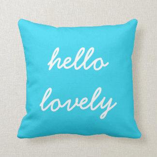 Hello Lovely Blue Pillow
