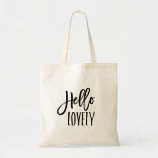 Hello Lovely | Brush Lettered Typography Tote Bag