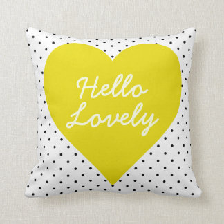 Hello Lovely Polka Dot Heart Pillow