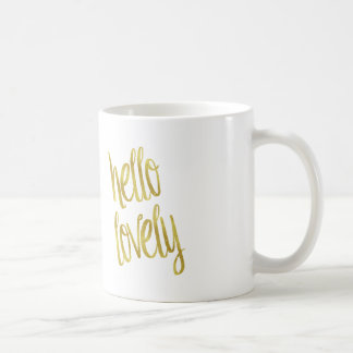 Hello Lovely Quote Faux Gold Foil Sparkle Design Coffee Mug