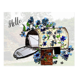 Hello Mailbox Art Blank Postcard