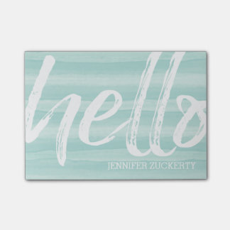 Hello - Modern and Whimsical - teal watercolor Post-it Notes