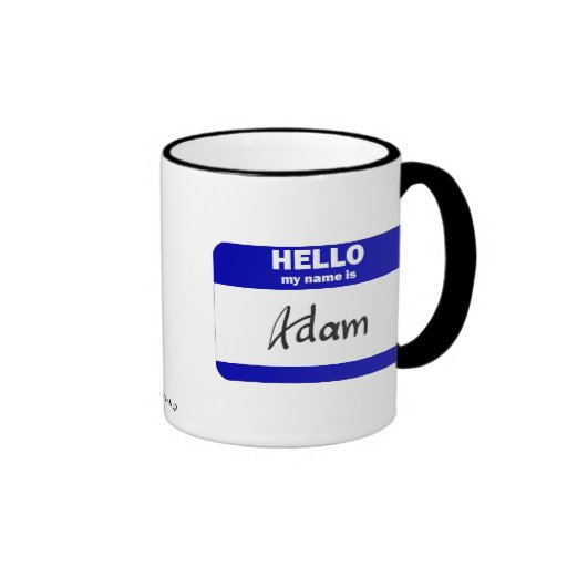 Hello My Name Is Adam (Blue) Mugs