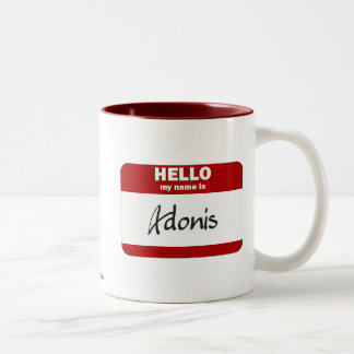 Hello My Name Is Adonis (Red) Two-Tone Coffee Mug