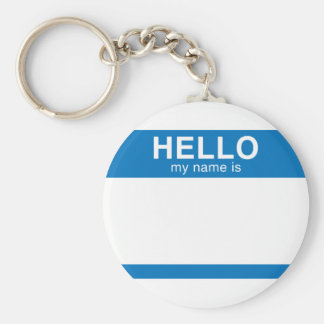 Hello My Name Is - Blue Basic Round Button Key Ring