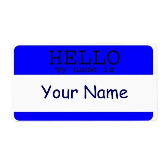 Hello my Name is Blue Label Template