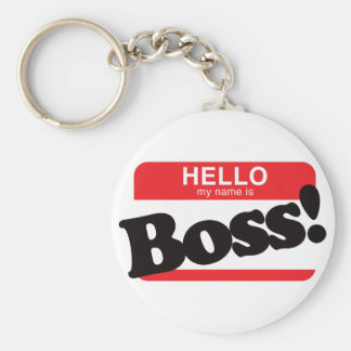 Hello My Name Is Boss Basic Round Button Key Ring