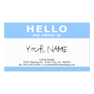 hello my name is : business card templates