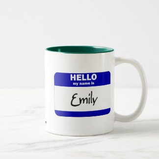 Hello My Name Is Emily (Blue) Two-Tone Coffee Mug